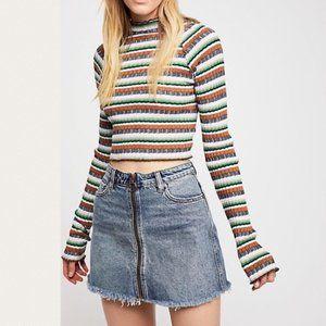 We The Free People Zip It Up Denim Mini Jean Skirt